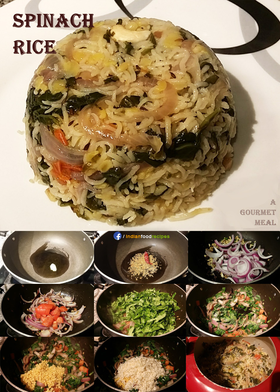 Spinach Rice / Palak Rice recipe step by step
