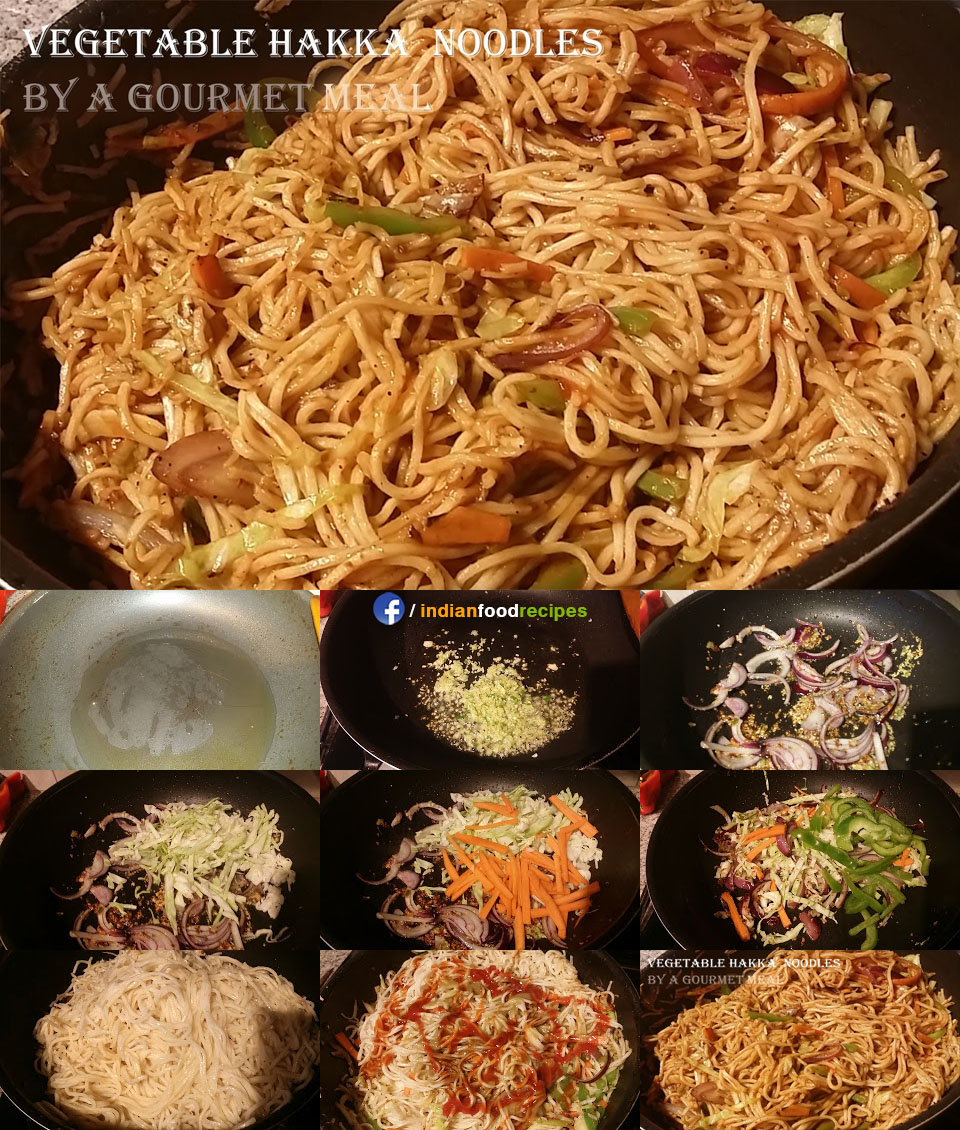 Vegetable Hakka Noodles recipe step by step