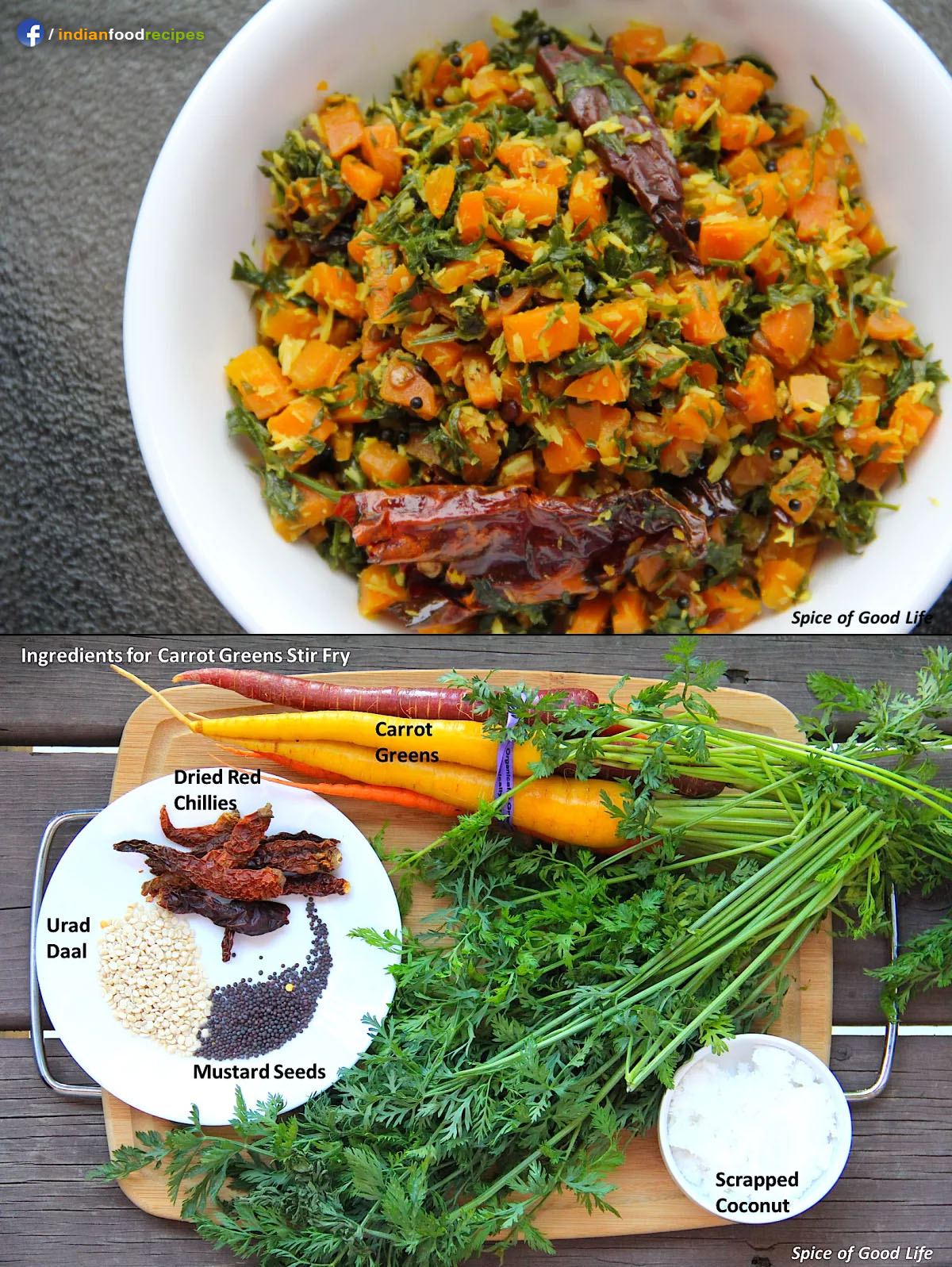 Indian Style Carrot Greens Stir-Fry recipe step by step