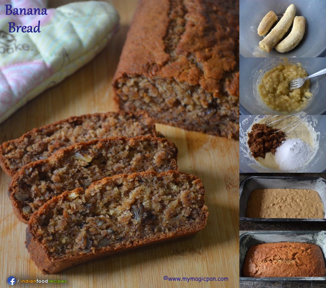 Easy Eggless Banana Bread (Banana Walnut Bread) recipe step by step
