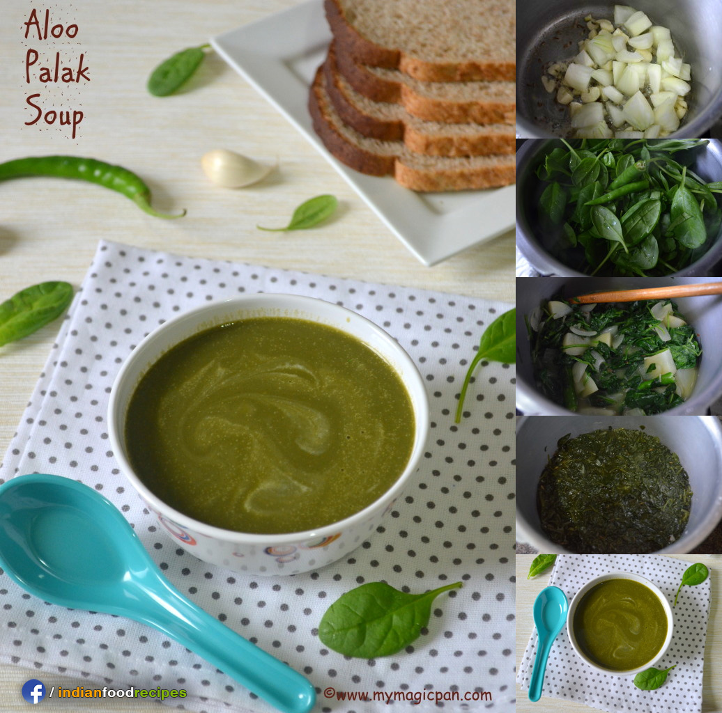 Easy Potato Spinach Soup – Aloo Palak Soup recipe step by step