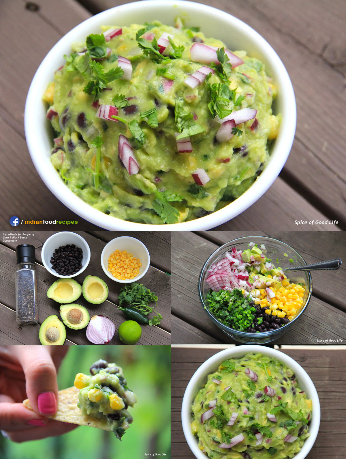 Easy & Simple Peppery Corn & Bean Guacamole recipe step by step