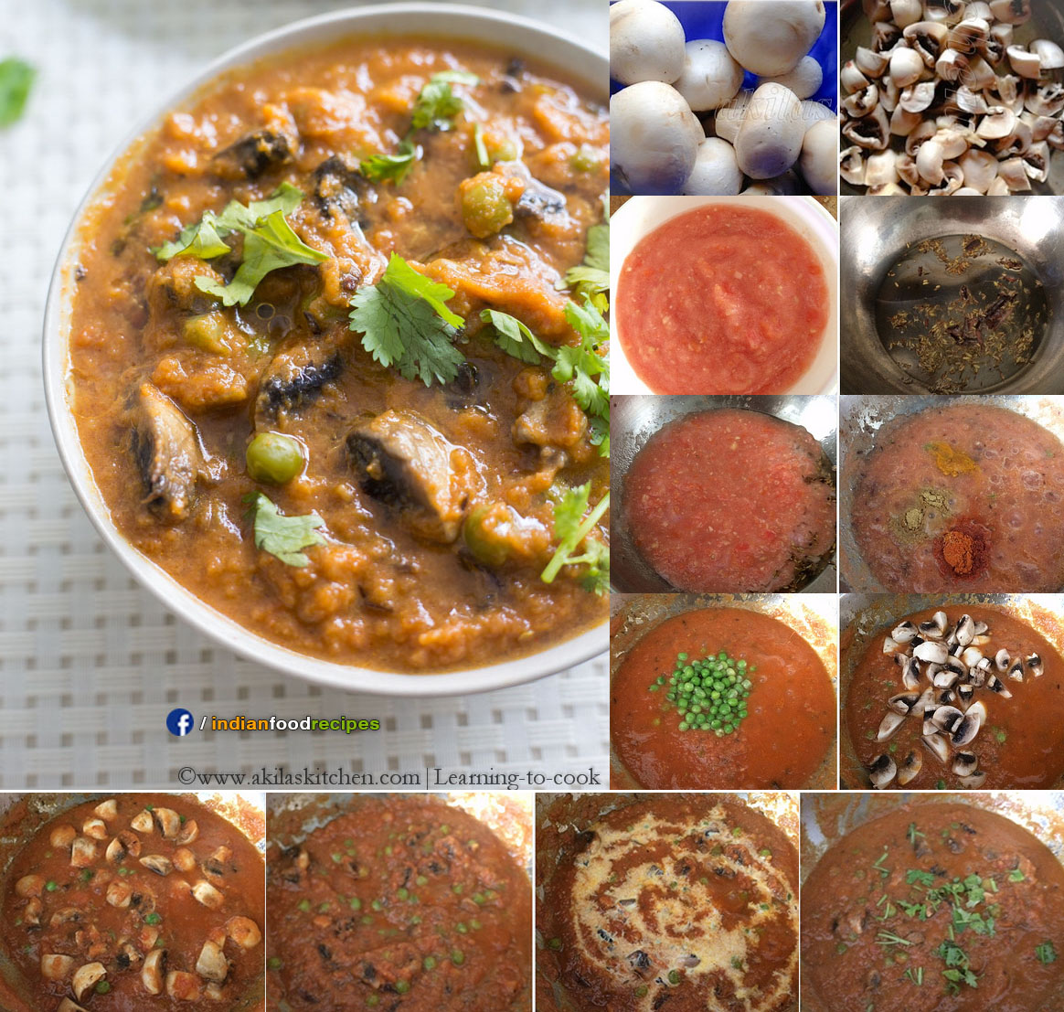 Mushroom Matar Curry | Mushroom Green Peas recipe step by step