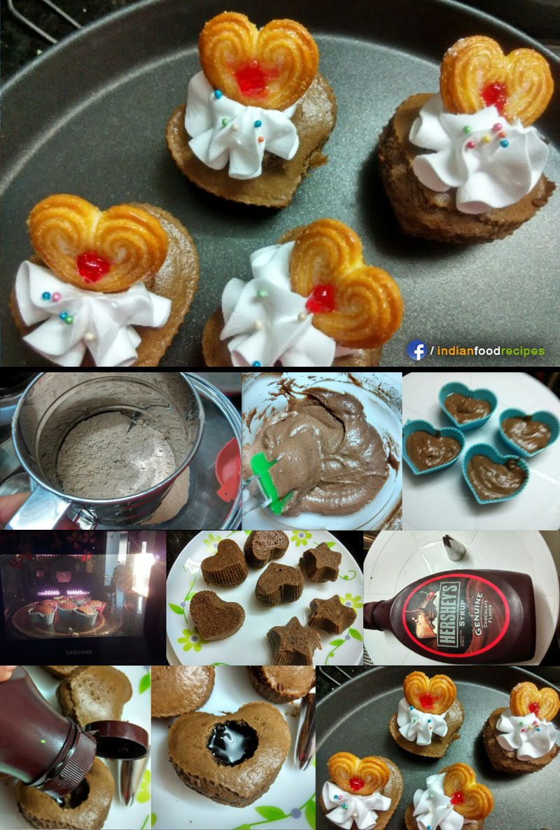 Eggless Chocolate cupcakes with Center Surprise recipe step by step pictures