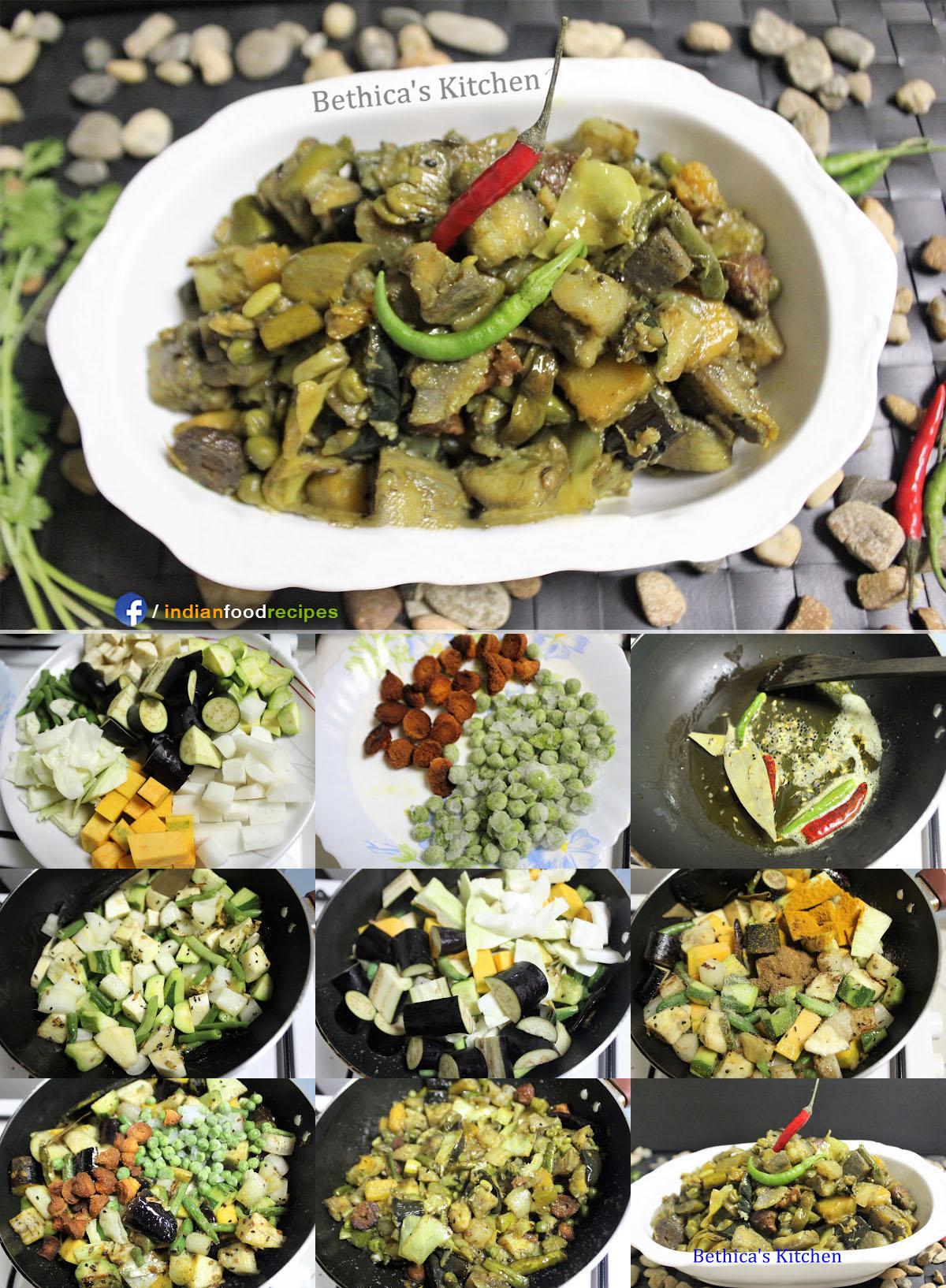 Labra Torkari (Mixed Vegetable Curry – Bengali Style) recipe step by step pictures