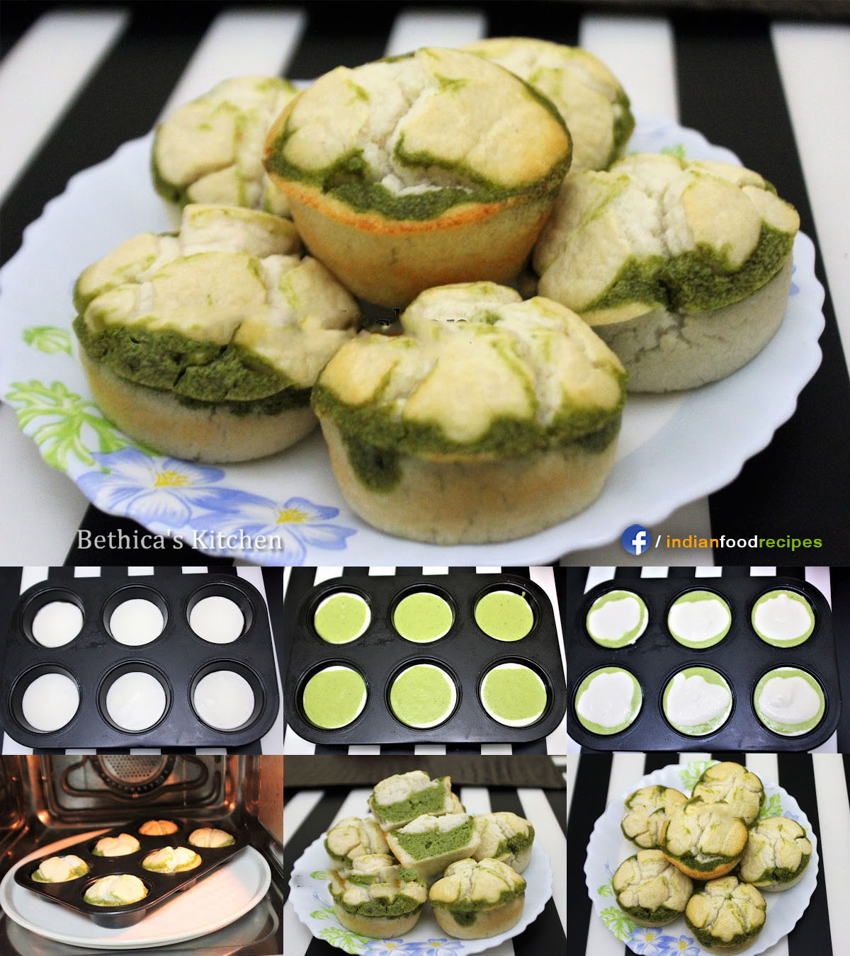 Layered Spinach Idli Muffins recipe step by step pictures