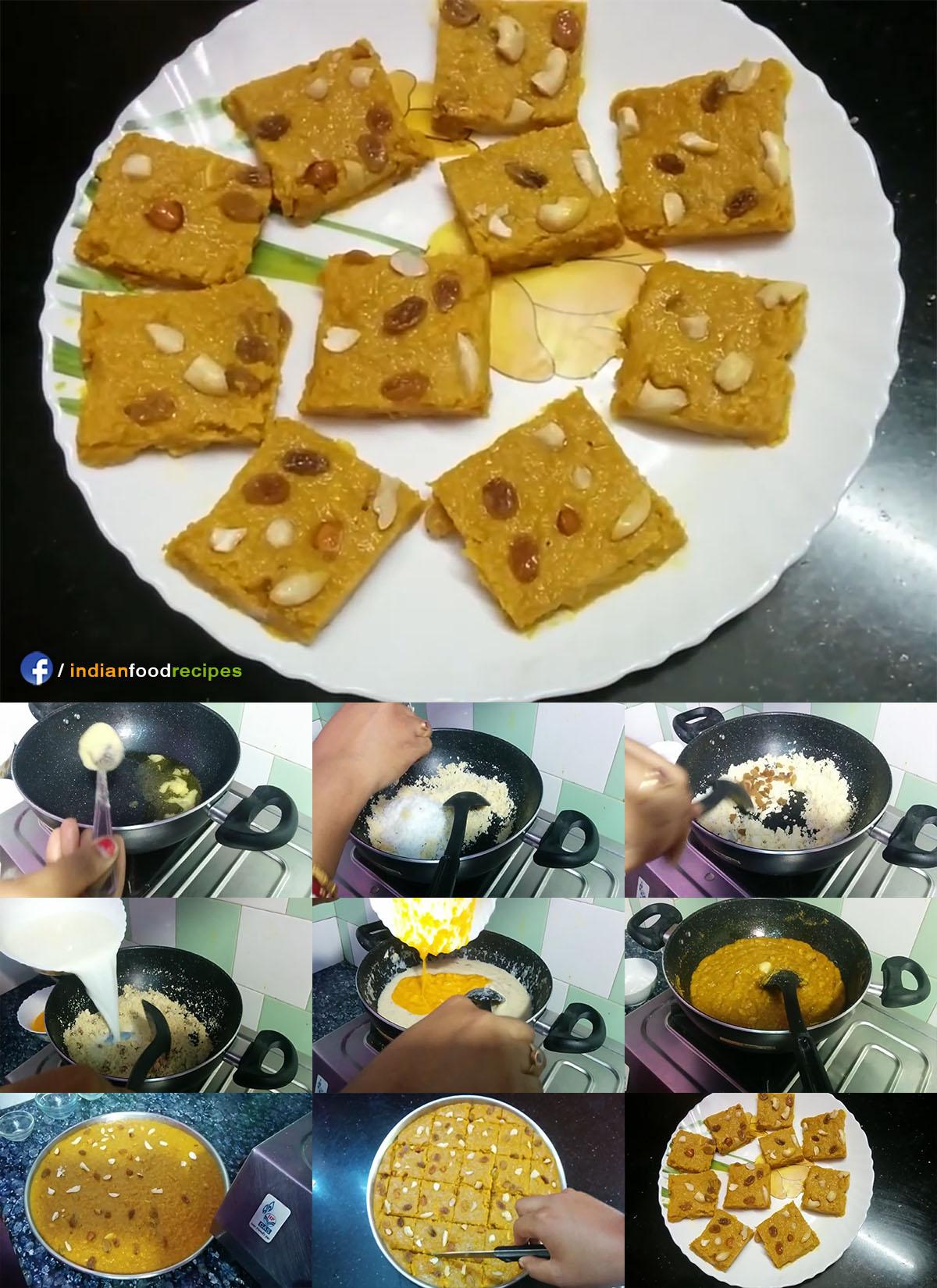 Mango Halwa / Mango Burfi recipe step by step