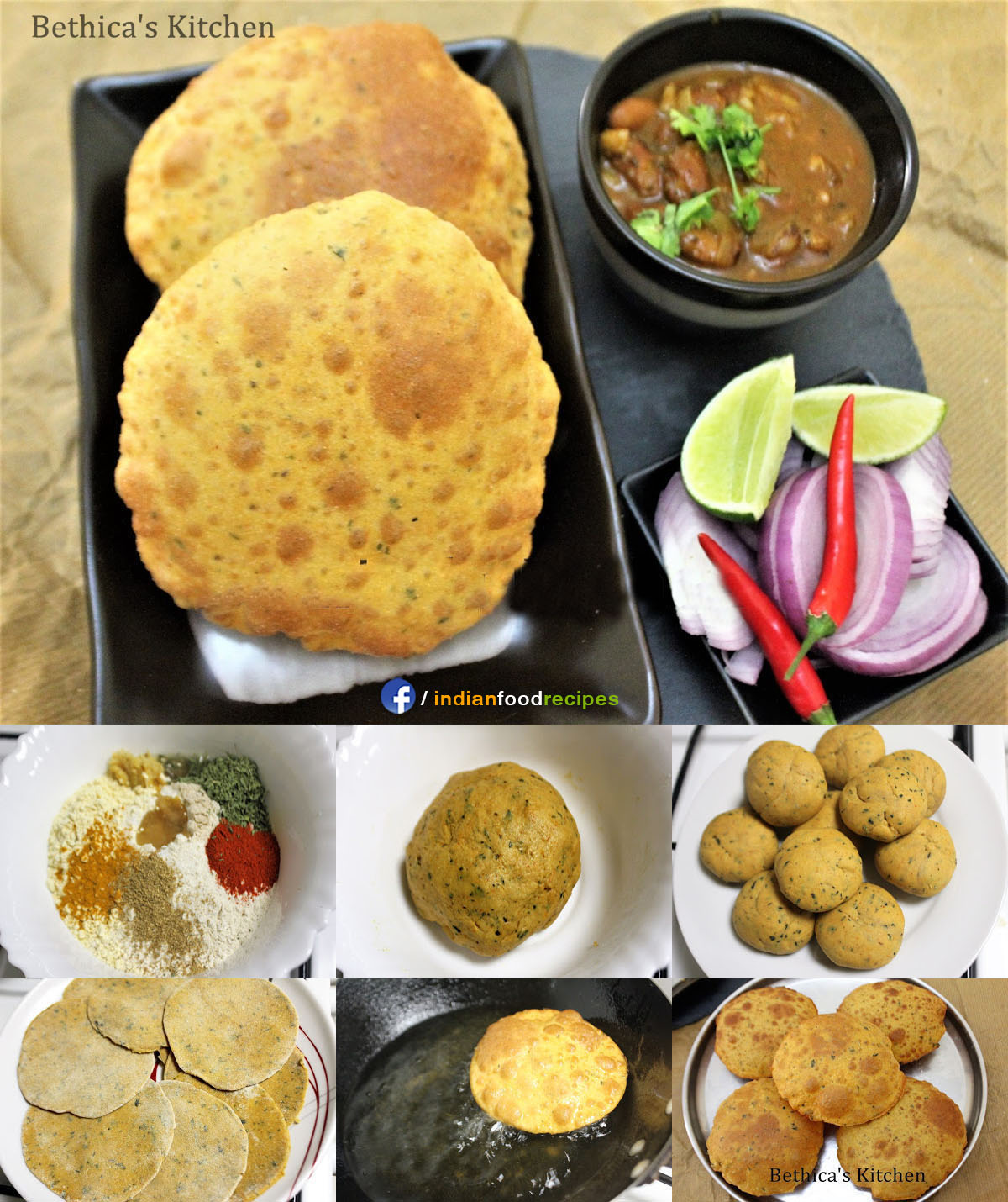 Pudina Masala Poori (Spicy-Minty Deep Fried Puffed Bread) recipe step by step pictures