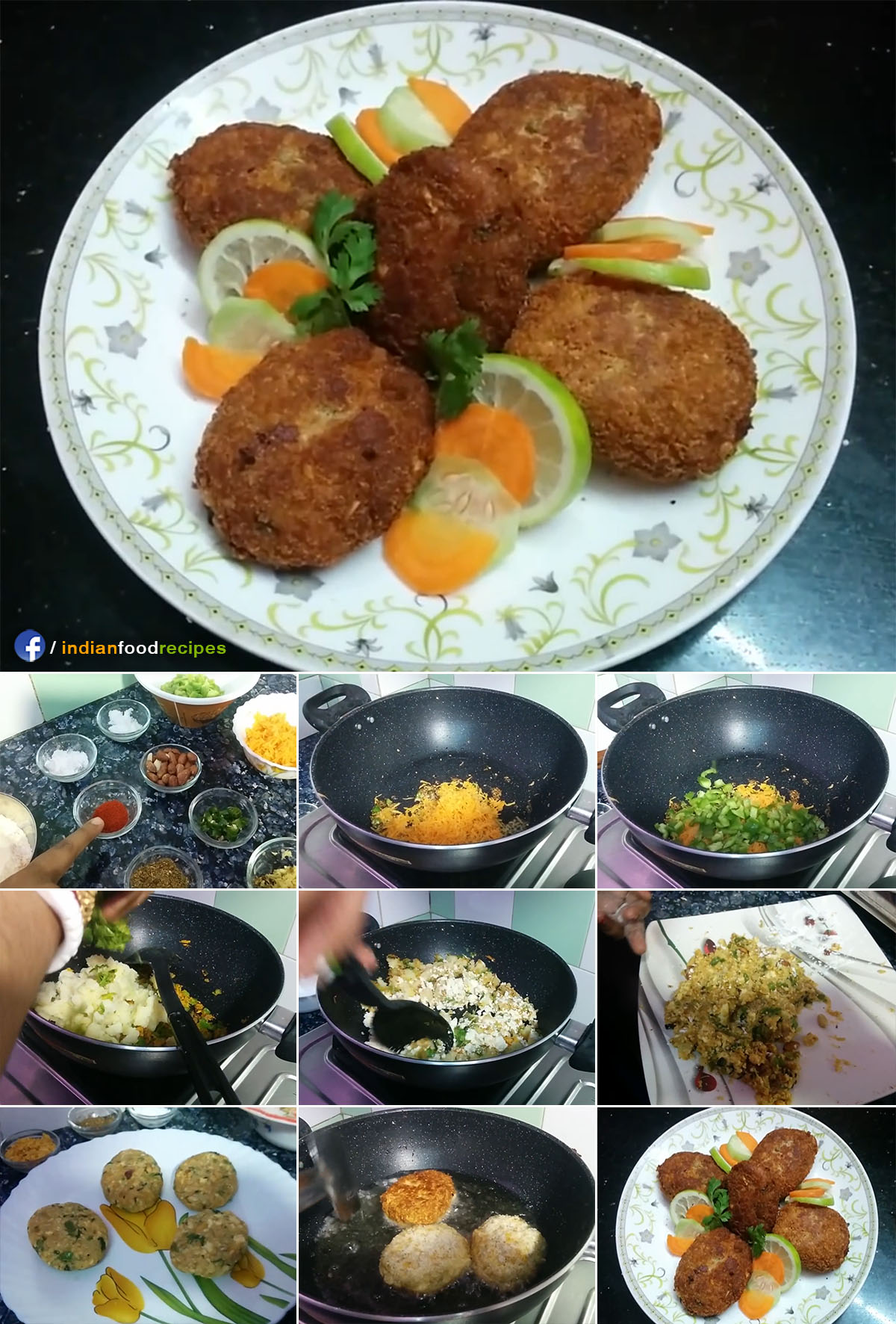Crispy Paneer Vegetable Cutlet | Restaurant style Cottage Cheese Veg Cutlet recipe step by step pictures