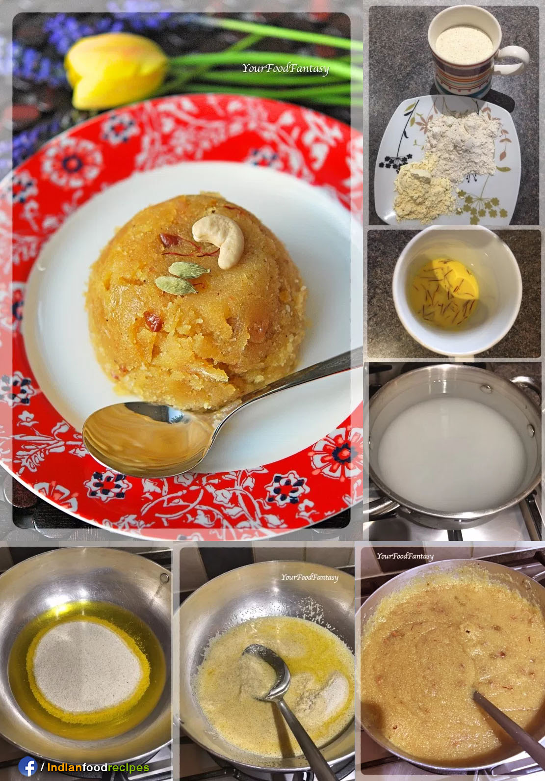 Sheera Semolina Pudding recipe step by step pictures