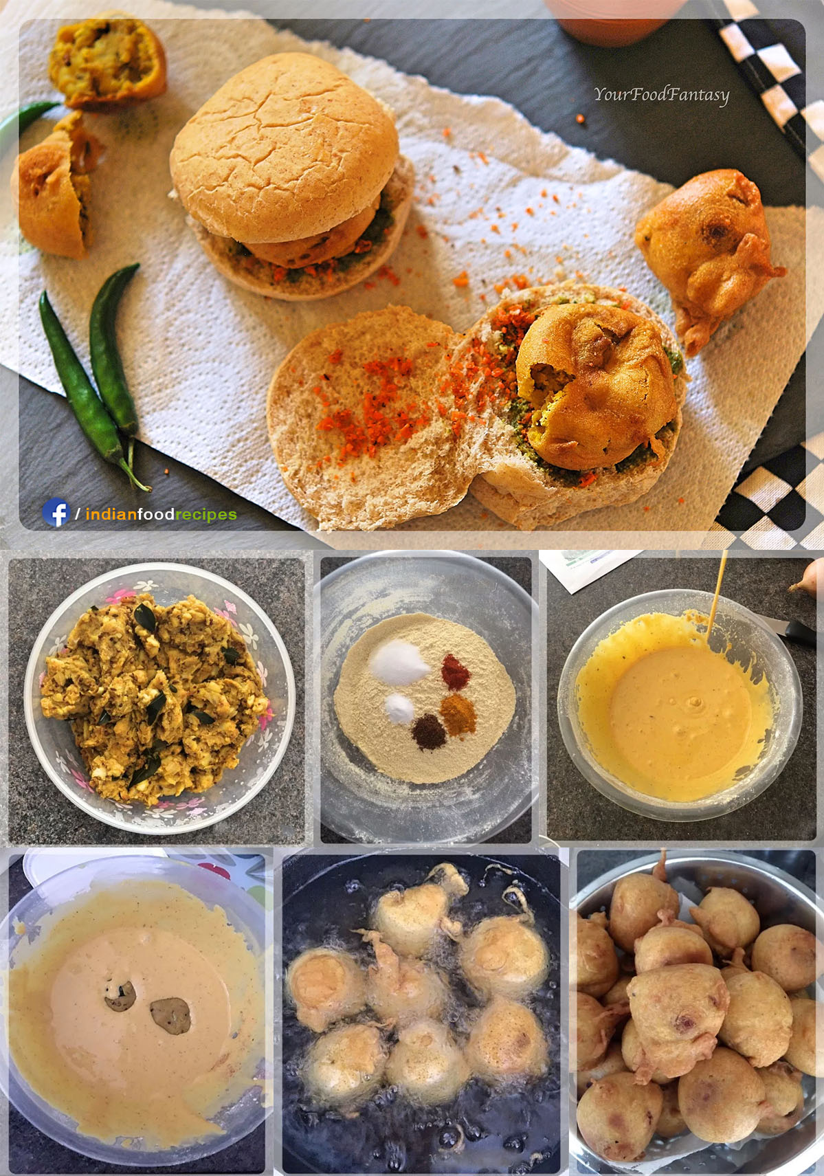 Vada Pav recipe step by step pictures