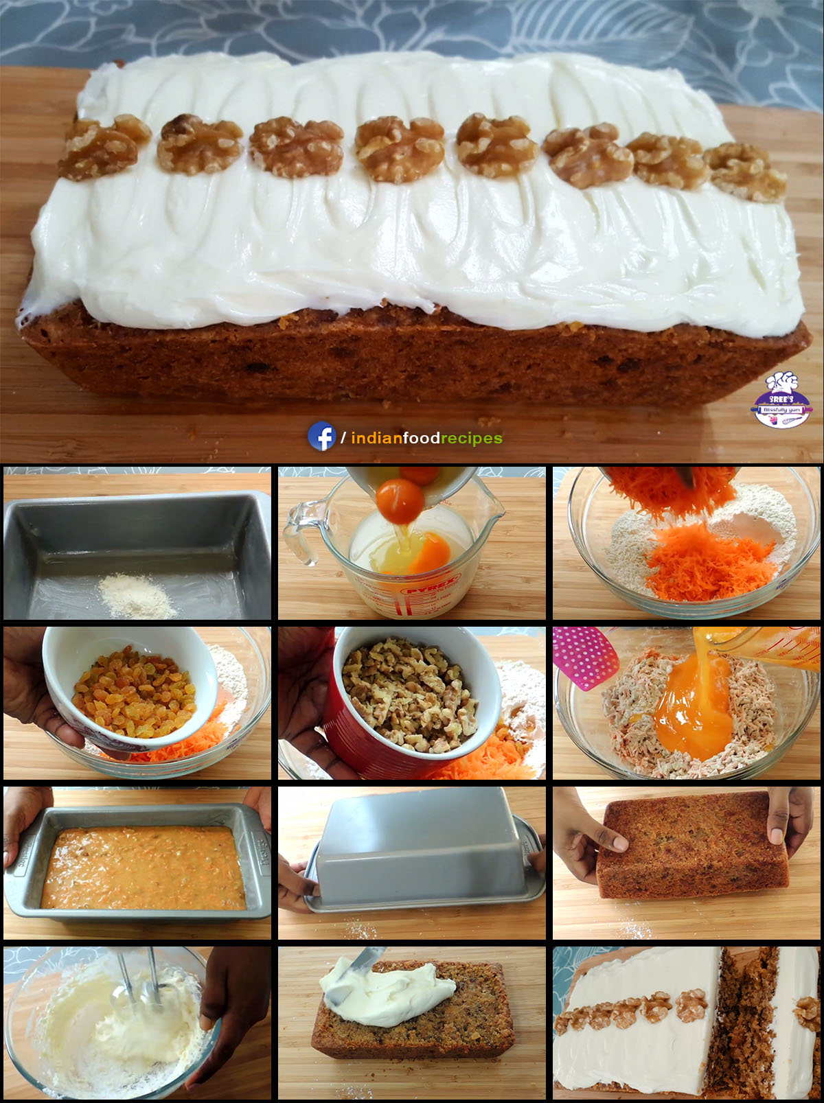 Carrot Cake recipe step by step pictures