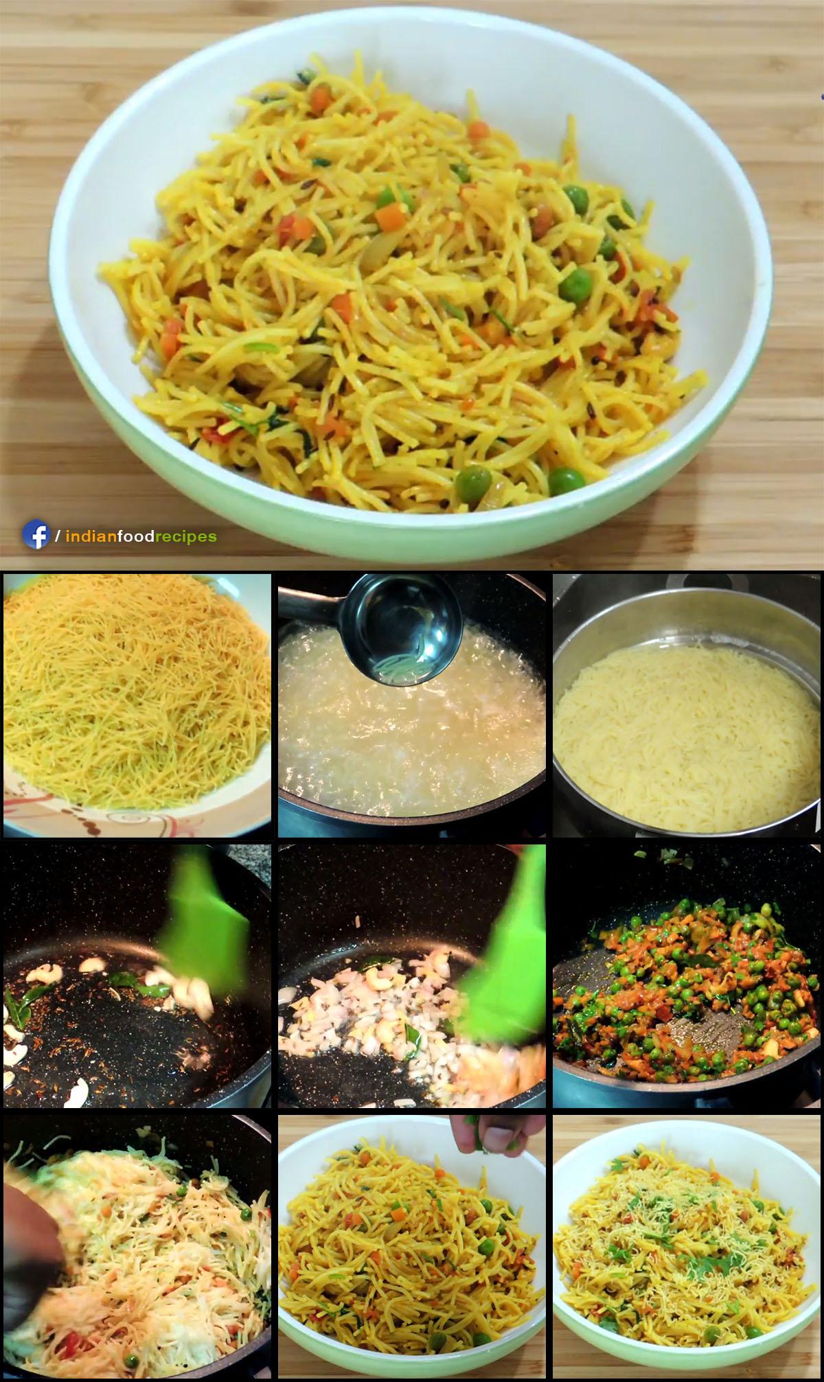 Semiya Upma Vermicelli Upma recipe step by step pictures