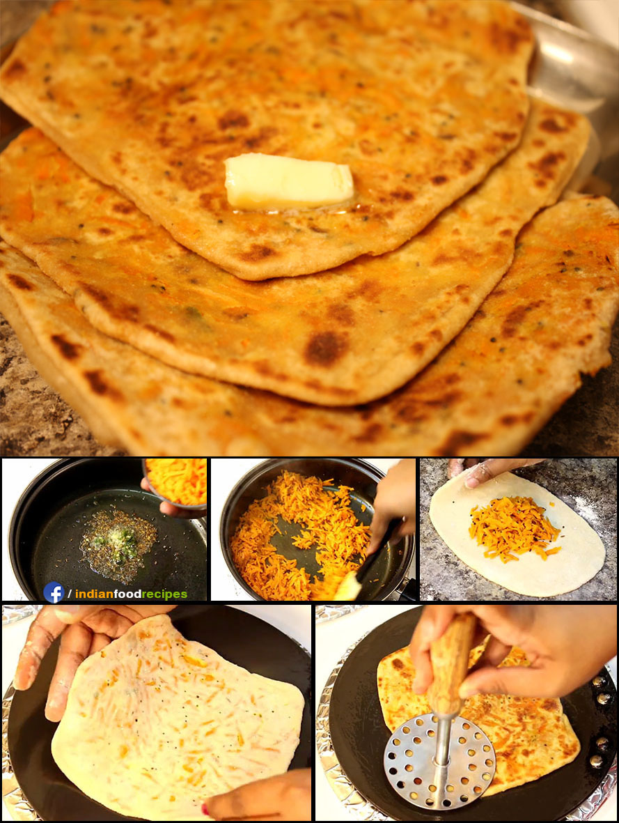 Carrot Stuffed Paratha recipe (step by step) pictures