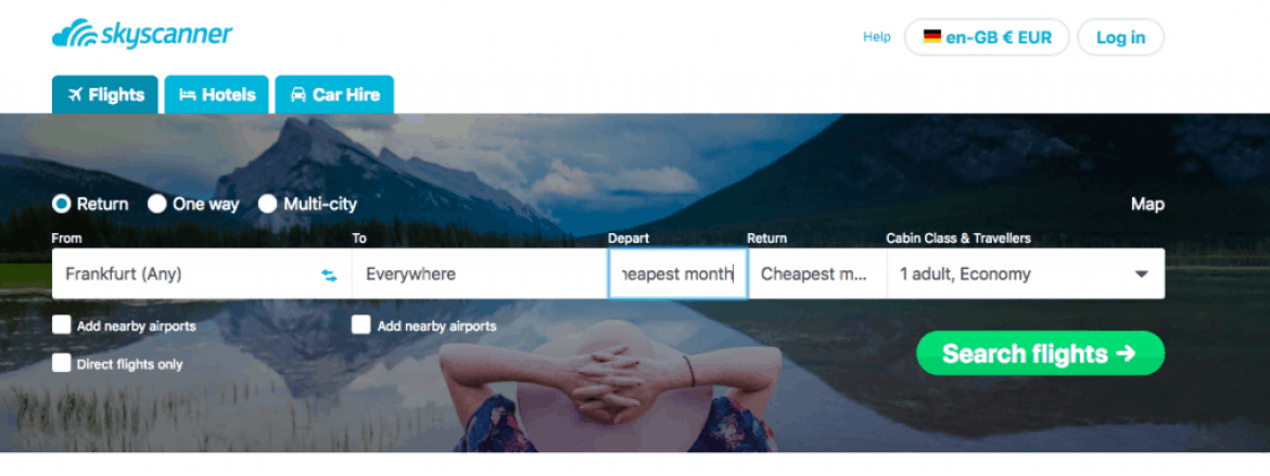 Image of skyscanner everywhere function
