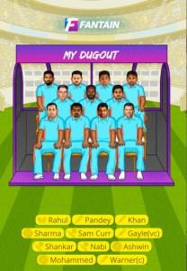 SRH vs KXIP Fantain Team
