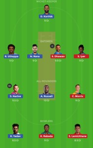 KKR vs DC Best Dream11 team Demo 1