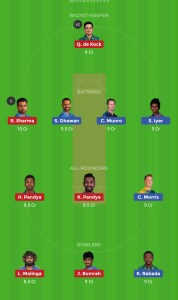 MI vs DC Best Dream11 team Today