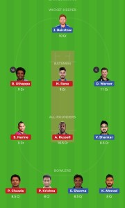 SRH vs KKR Dream11 Grand League Team 2