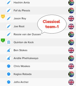 ENG vs SA BalleBaazi Teams - 1  For Classical Leagues