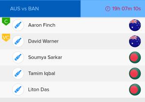 ICC WC Match 26thAUS Vs BAN Ballebaazi Batting team