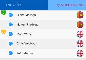 ICC WC Match 27th ENG Vs SL Ballebaazi Bowling team