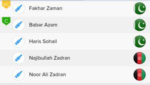 ICC WC Match 36th PAK Vs AFG Ballebaazi Batting team