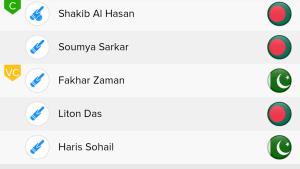 ICC WC Match 43rd PAK VS BAN Ballebaazi Batting team