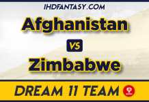 AFG vs ZIM 5th T20 Dream11 Team