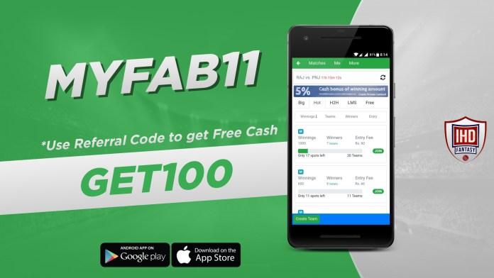 MyFab11 Referral Code: GET100, APK Download & Earn Free ₹100 Bonus Cash