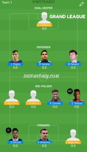 FINAL: FRA vs ICE MyTeam11 Fantasy Football GRAND LEAGUE Team