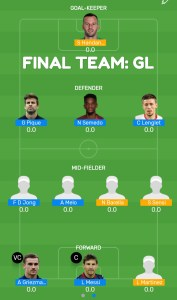 FINAL: BAR vs INT Myteam11 Fantasy Football Team (GL)