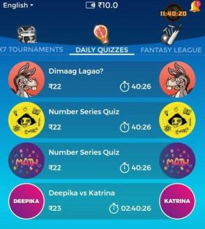 winzo app daily quizzes