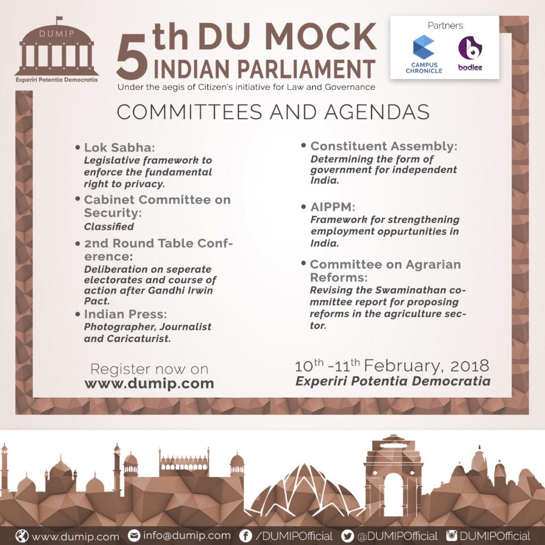 5th DU Mock Indian Parliament [Feb 10-11, New Delhi]: Register by Jan 25