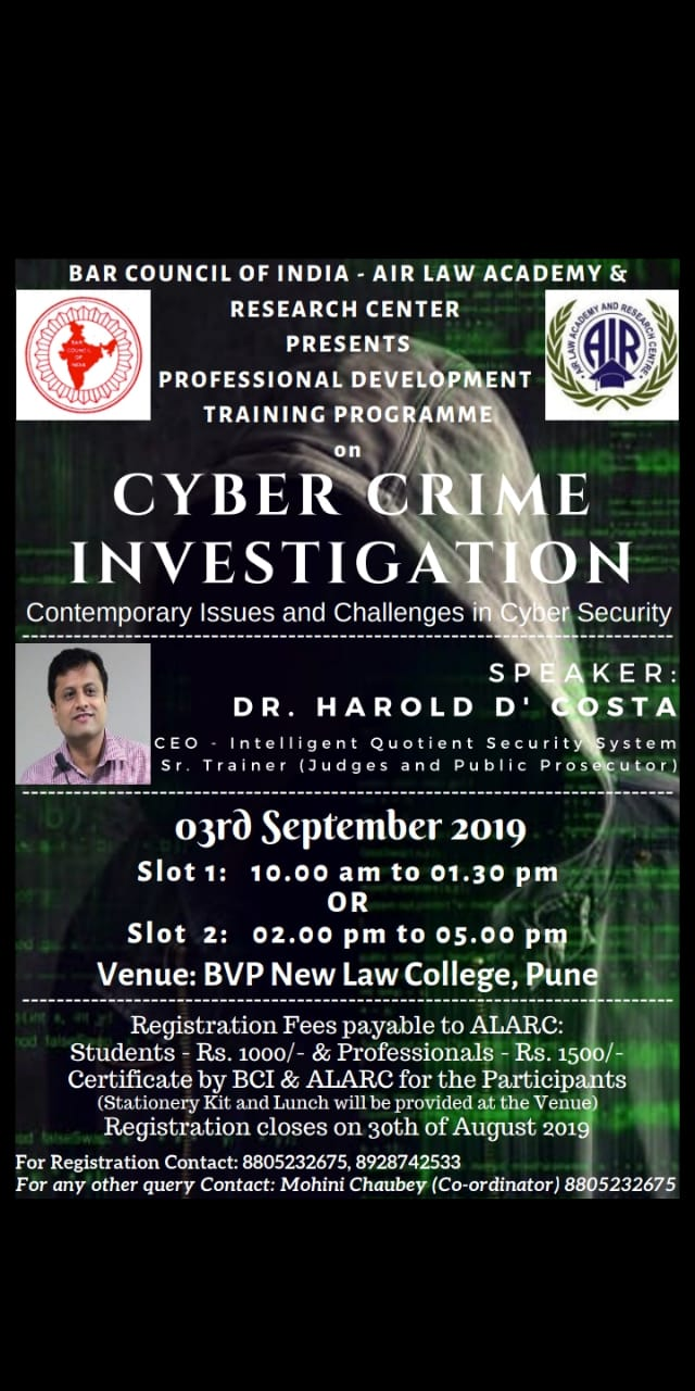 Professional development and training program on cyber crime prevention and investigation.