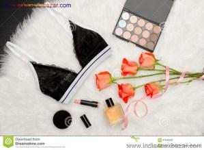 Black Lace Bra White Fur Orange Roses Lipstick Perfume Eye Shadow Fashionable Concept Top View 91846355