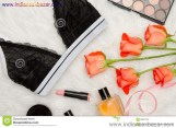 Black Lace Bra White Fur Orange Roses Lipstick Perfume Fashionable Concept Top View 92877337