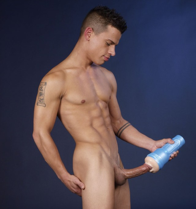 Naked Boy Doing Masturbation With Fleshlight Masturbator Sex Toy Fake Pussy 4