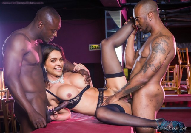 Bollywood Hindi Film Actress Deepika Padukone Hardcore Gang Bang Porn Big Black Cock BBC Group Sex Threesome XXX Pic (4)
