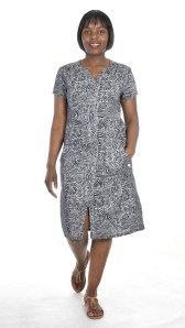 V FRONT PRINTED NAVY DRESS R1245 LES TRO BABA SERPENT TAN SHOES R1599