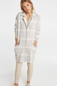 YAYA KNITTED CHECK COATIGAN L/GREY R3995