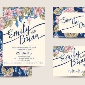 Floral Blue and Pink White theme Ecard for Whatsapp