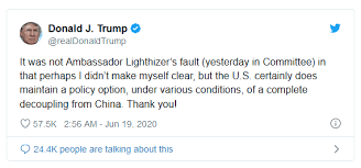 Photo of Donald-Trump Tweet-America taking down the dragon from china( Complete Decoupling)