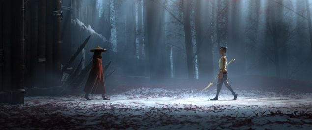Raya and her nemesis, Namaari, face off amid the snowy mountains of Spine
