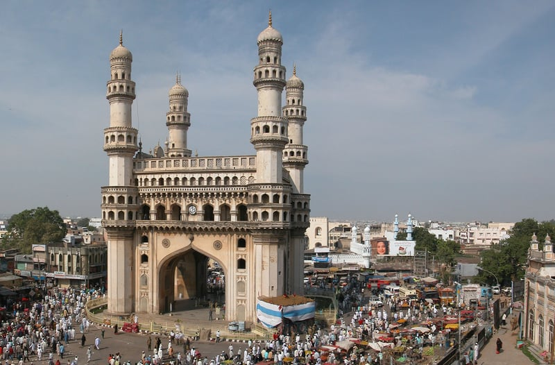Charminar during Ramzan the Holy festival of Muslims. Offering prayers on the last Friday of Ramzan