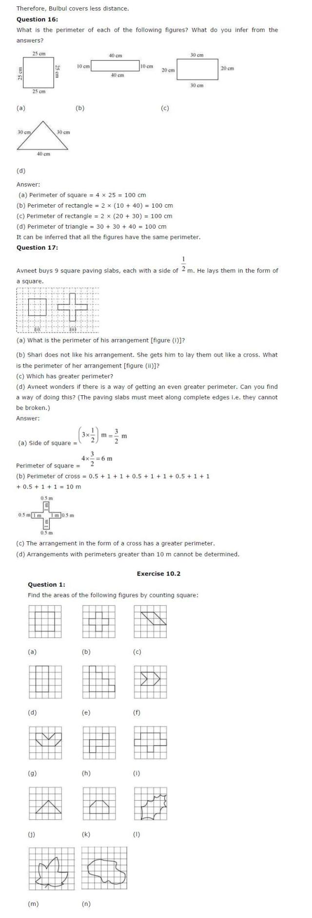 NCERT Solutions for Class 6th Maths: Chapter 10 – Mensuration