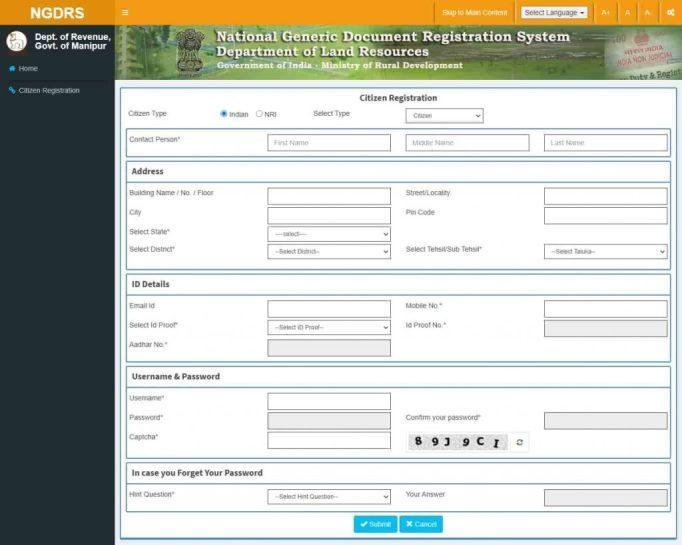 NGDRS Citizen Registration