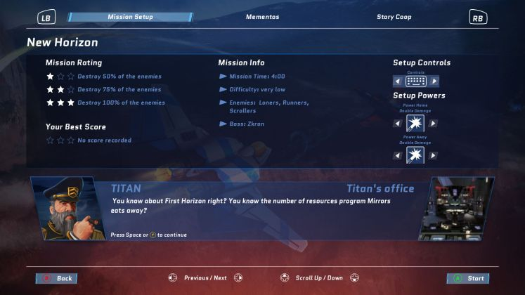 The mission screen, along with briefing.