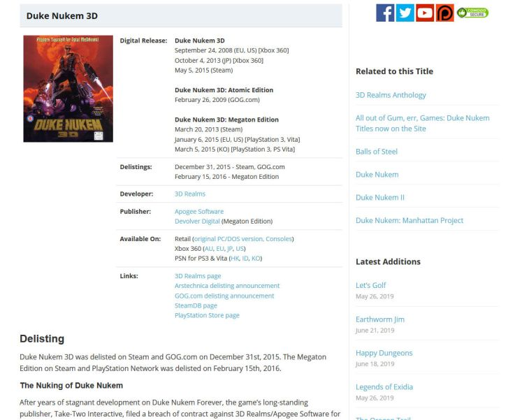 The page for Duke Nukem 3D on the site.