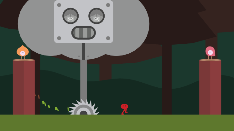 Screenshot of the first robot boss in the forest in Pikuniku.